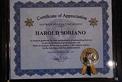 Certificate of Appreciation from the SFPD