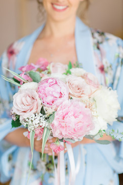 Louise with her Peony bouquet