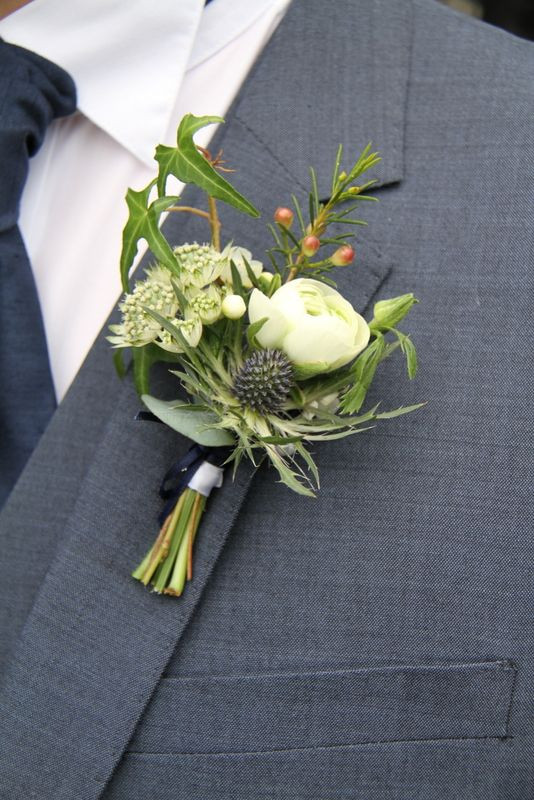 Astrantia, Waxflower and eryngium buttonhole