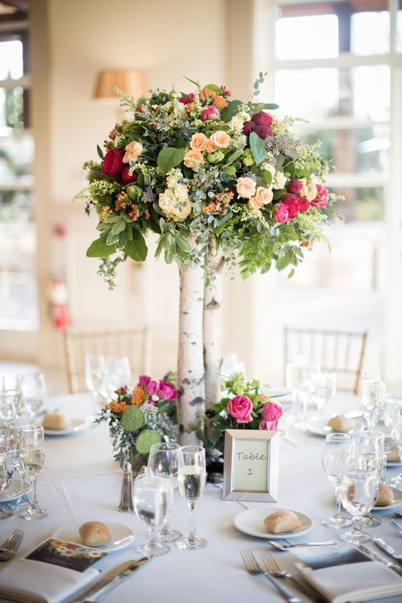 Topiary flower tree table centrepiece