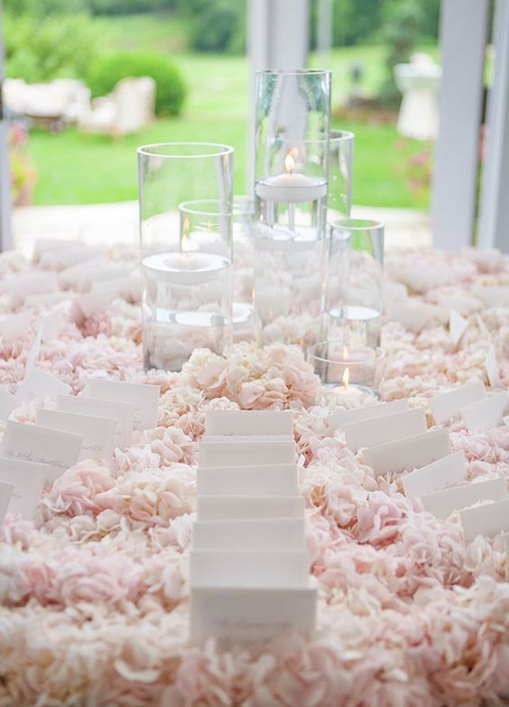 Blush pink hydrangea table centrepieces