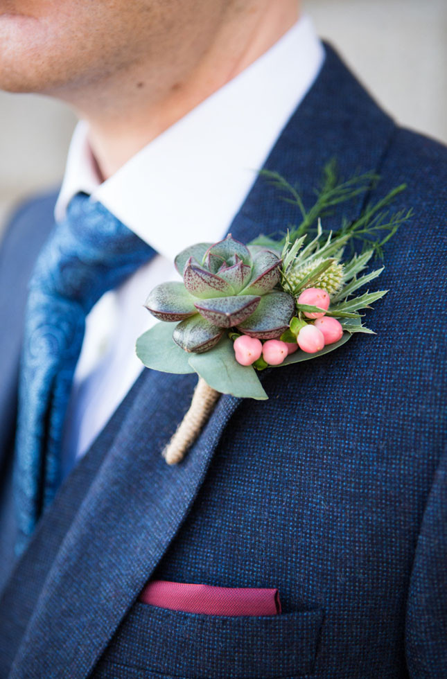 Succulent, thistle and berry buttonhole