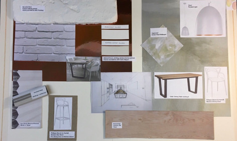 Client Kitchen Extension Product Spec Board and Concept Drawings