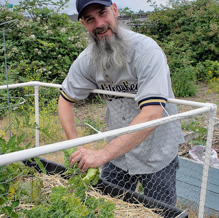 Nathan Clark, a deaconal student in the Episcopal Diocese of Olympia, is shown in the photos harvesting the kale.