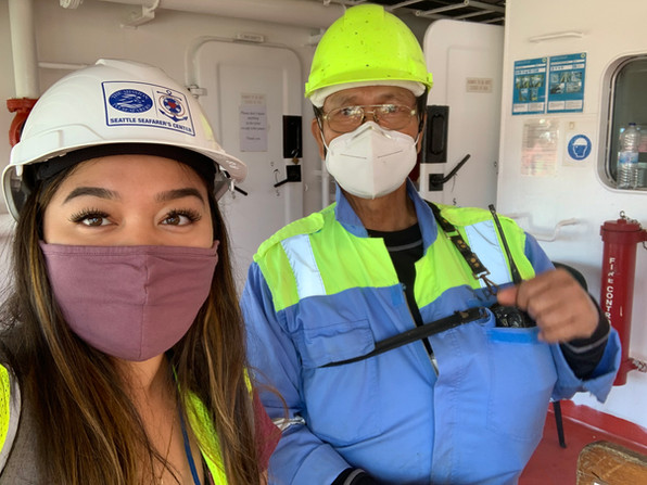 Ann Marie with a crew member from the Cap Jervis!