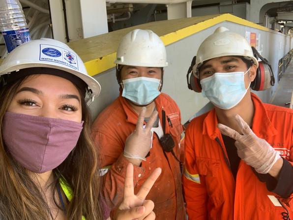 Ann Marie with crew on the Seaspan Yangtze.