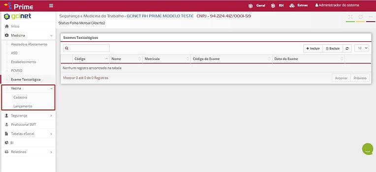 GCINET RH Software - Cadastro de Vacinas