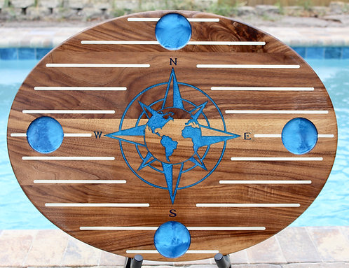 World Compass Rose Oval  Boat Table