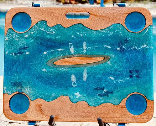 Ocean w/Sandbar, Fish & Boats