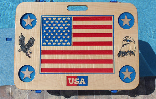 American Flag w/four drink holders on maple