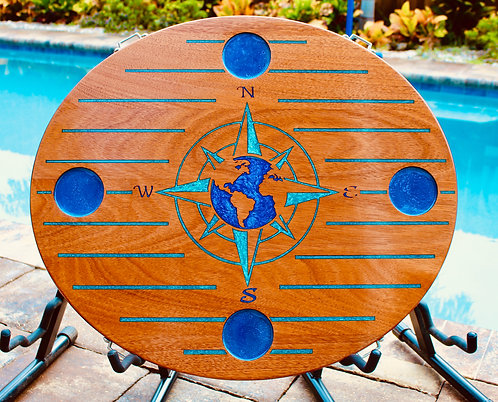 World Compass Rose Oval  Boat Table - Blue Pinstripes