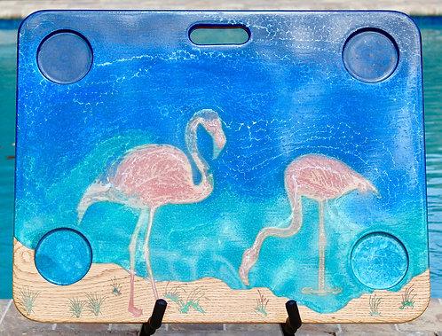 Flamingos in Florida on Oak Wood