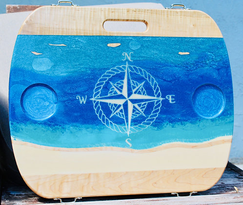 Ocean with White Compass Rose and 2 cup holders