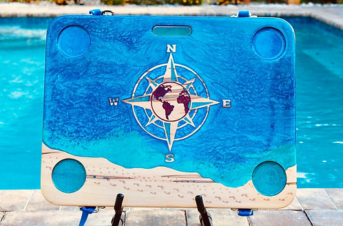 Ocean & Compass Rose w/Copper World, and footsteps