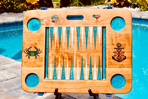 Backgammon Game - Nautical w/Martini Glass