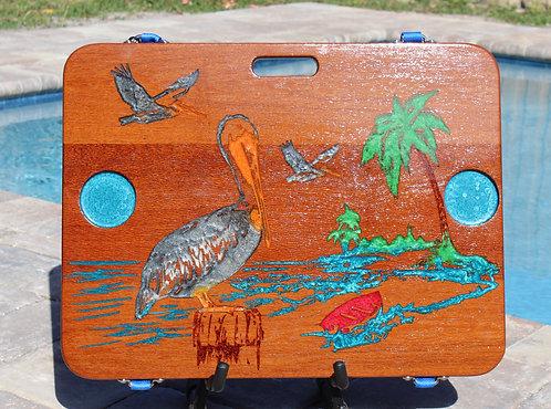 Grey Pelican on Fish Eye Oak