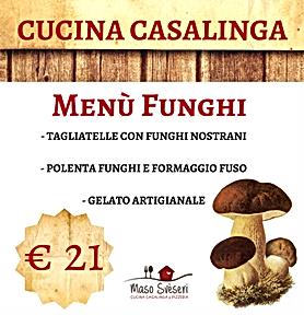 menu funghi, tagliatelle, polenta, funghi, gelato artigianale