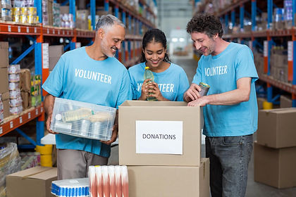 Volunteers Helping to sort supplies