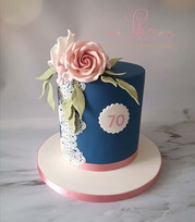 Navy, Lace and Flowers Cake