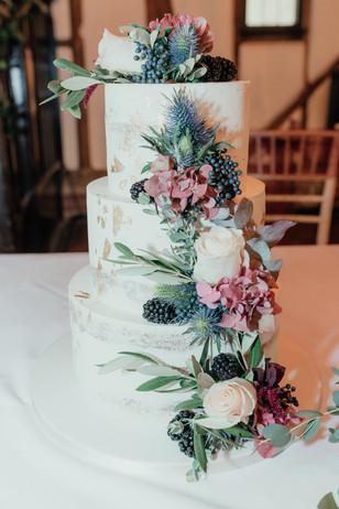 Three tier semi naked rustic wedding cake