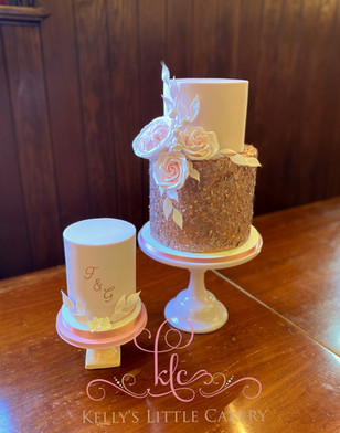 Blush pink and rose gold tiered cake wit