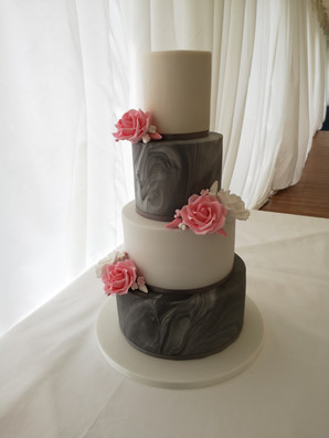Grey and white marble wedding cake