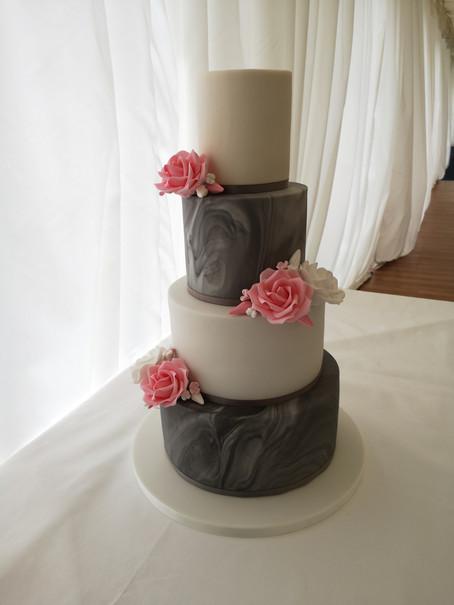 Grey and white marble wedding cake