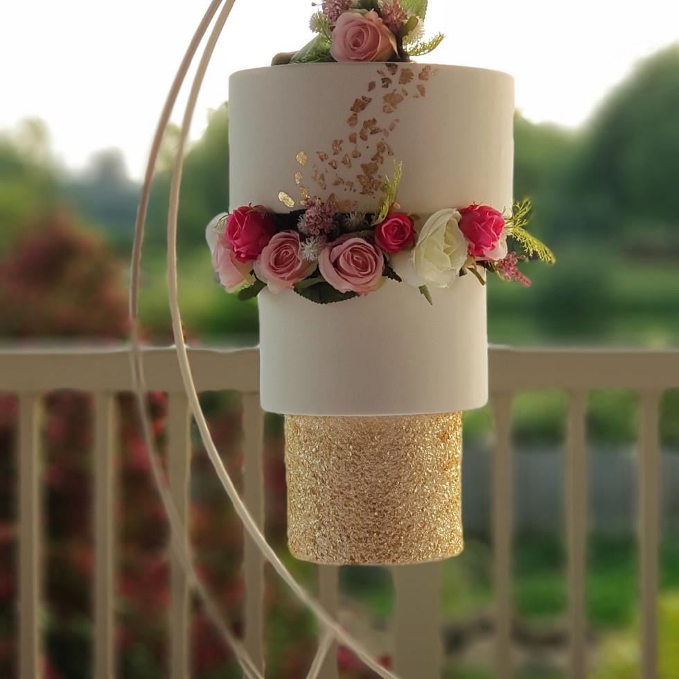 Sparkly Gold Upside Down Chandelier Hanging Cake