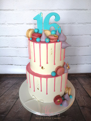 Sweets and Pink Drip Cake