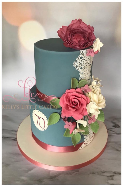 Tiered Navy, Lace and Flowers Cake