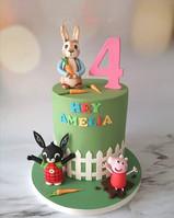 Peter rabbit, bing and peppa cake.