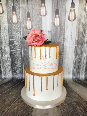 Two Tier Golden Drip wedding cake