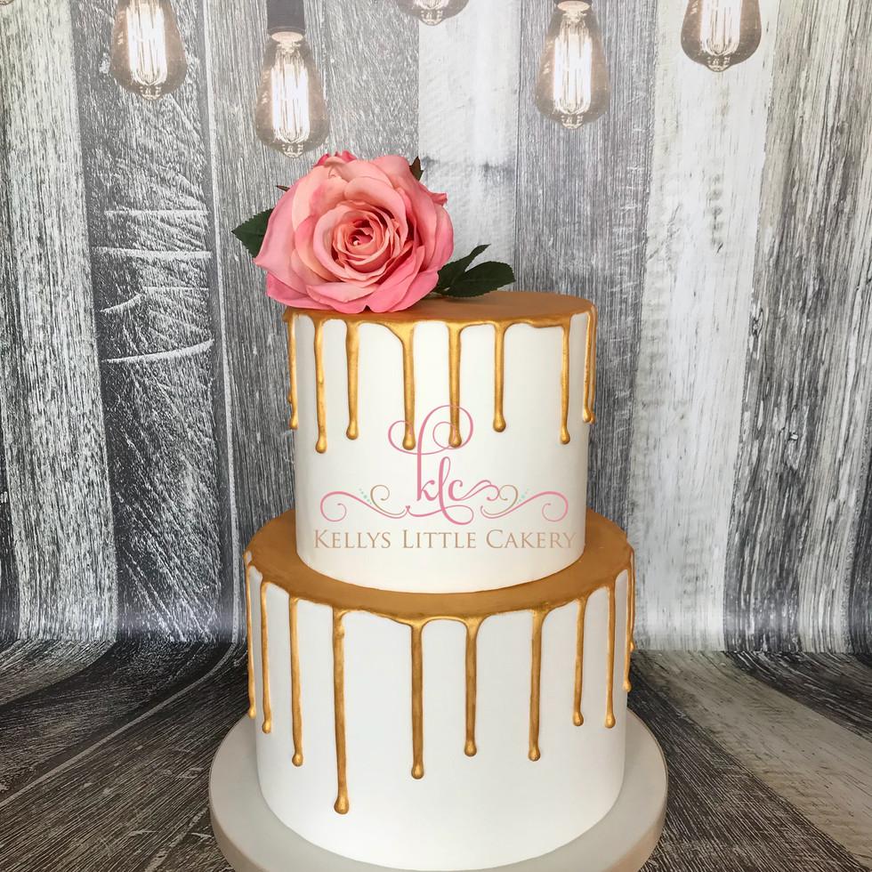 Two Tier Golden Drip wedding cake