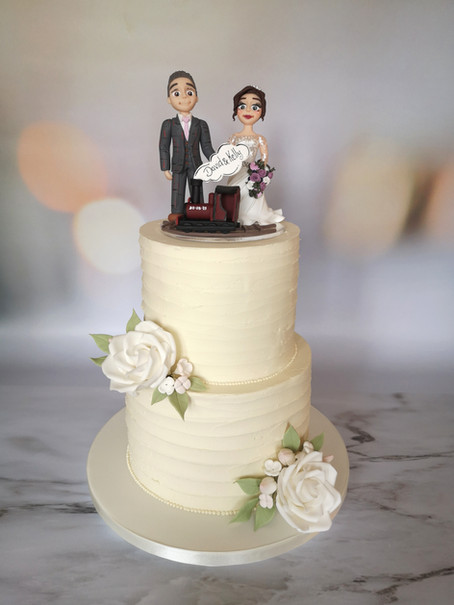 Rustic finish two tier wedding cake