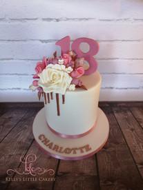 Rose Gold Sugar Flower Drip Cake