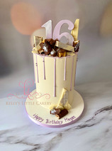 Lilac and white themed drip cake