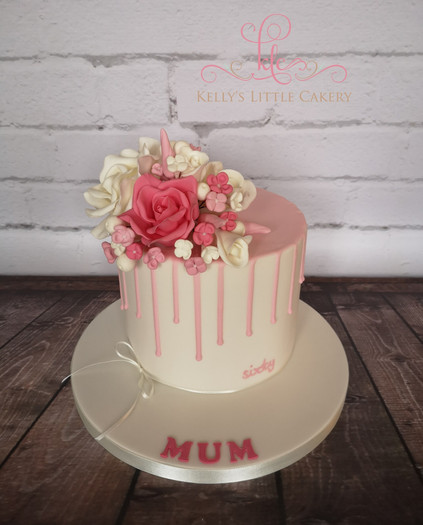 Pretty Little Drip Cake with Sugar Flowers