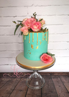 Turquoise and Gold Leaf Cake