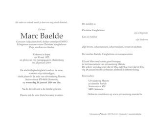 Overlijden Décès OMC b.d. Baelde Marc