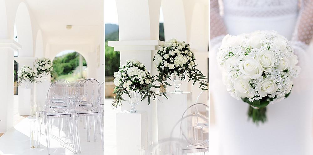 Weißer Brautstrauß und Blumendekoration