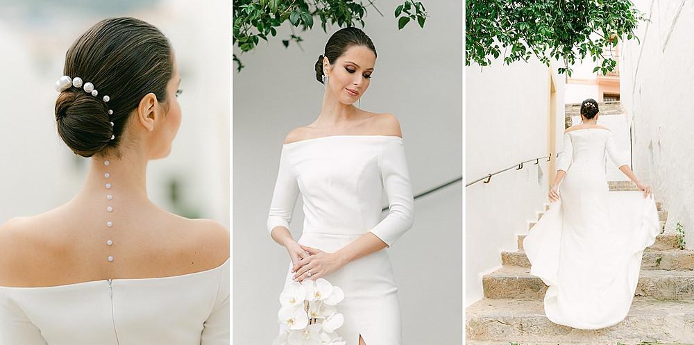 Brautfrisur Updo mit Perlen