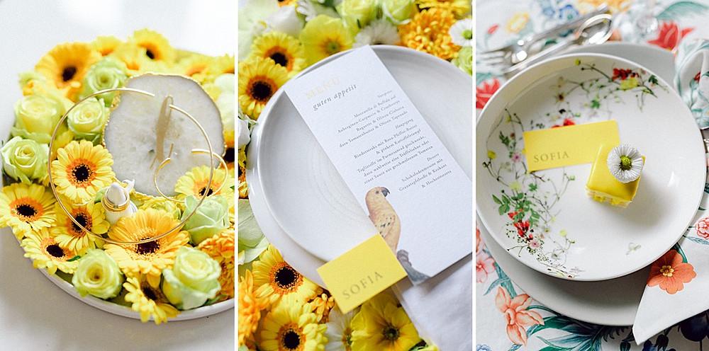 Hochzeitsinspiration in Illuminating Yellow Tischdeko IDeen und Braut Schmuck