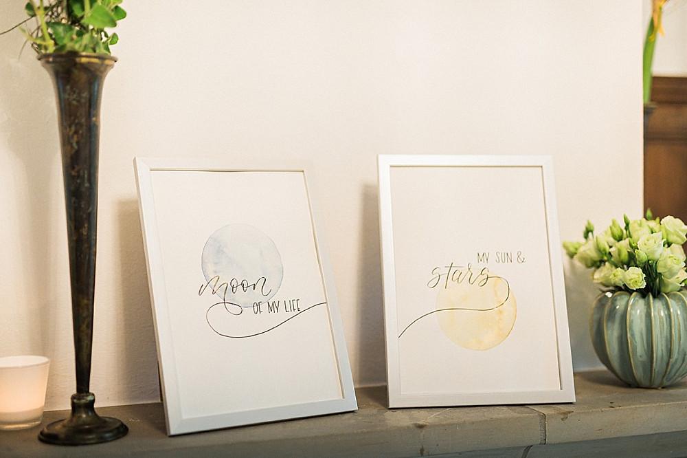 Hygge Hochzeitsideen in blau Handkalligraphierte Eheversprechen