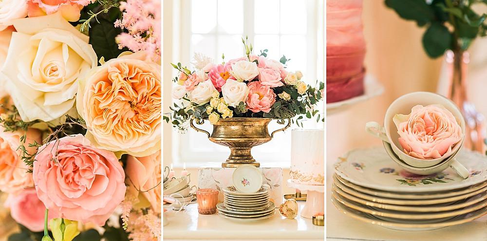 Rosen als Hochzeitsdekoration ind rose und koralle