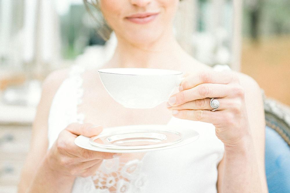 Tea time wedding  - bride with tea cup