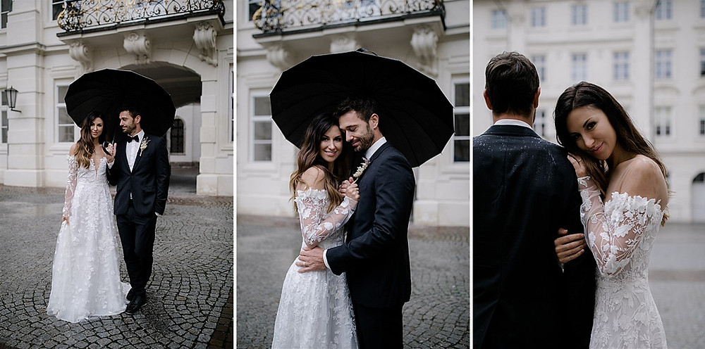 Luxushochzeit in der Hofburg Innsbruck Ideen Paarshooting bei Regen