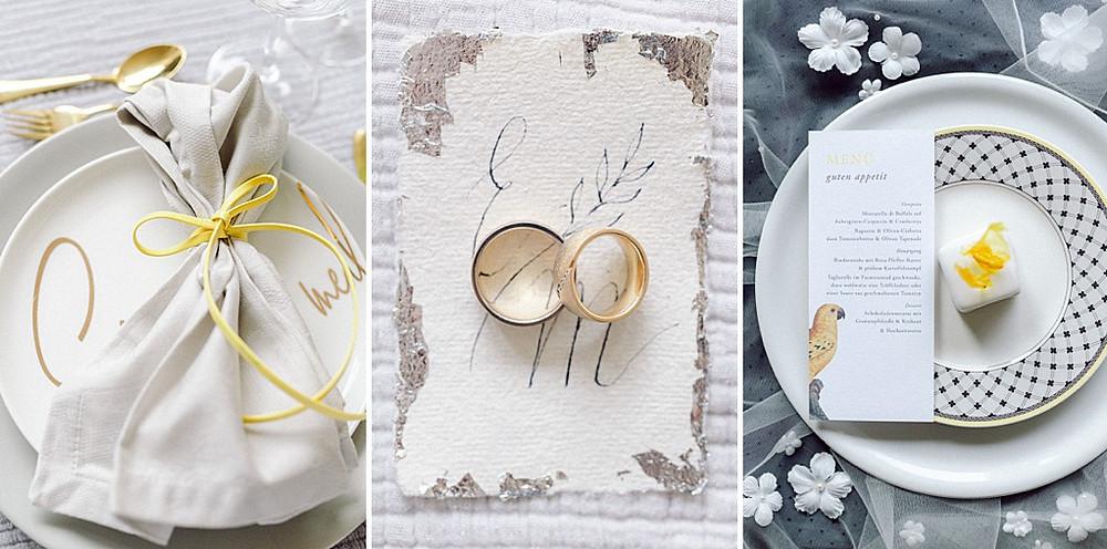 Hochzeitstrend 2021 Grau und Gelb. Ideen für Tischdeko Eheversprechen