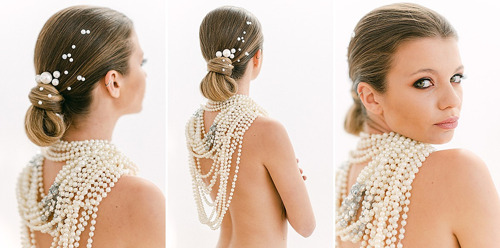 Loose Updo with pearls all over