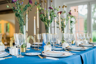 Tischdeko Royal Blau und gold