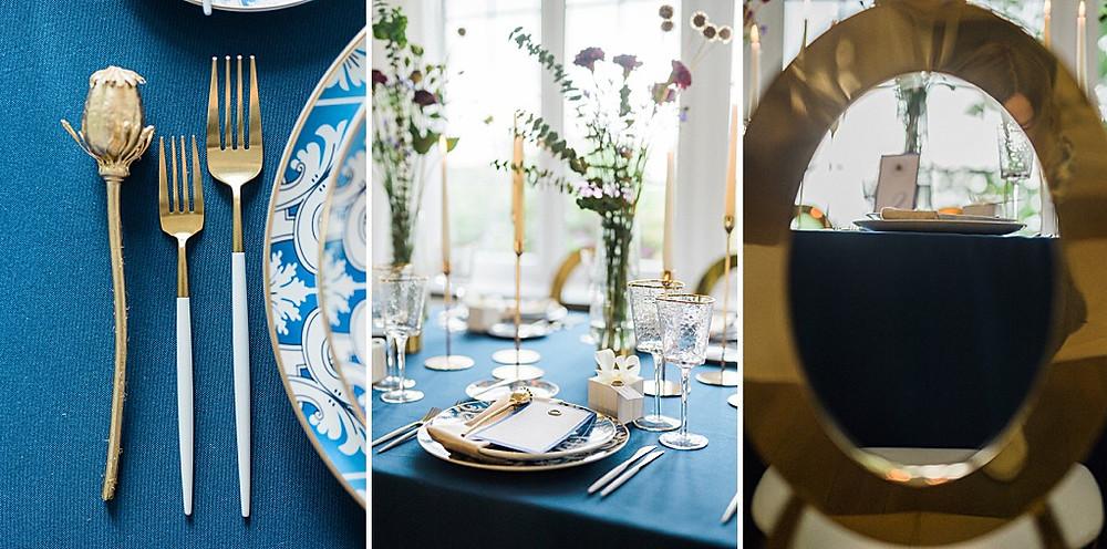 Hygge Hochzeitsideen in blau und gold Tischdeko